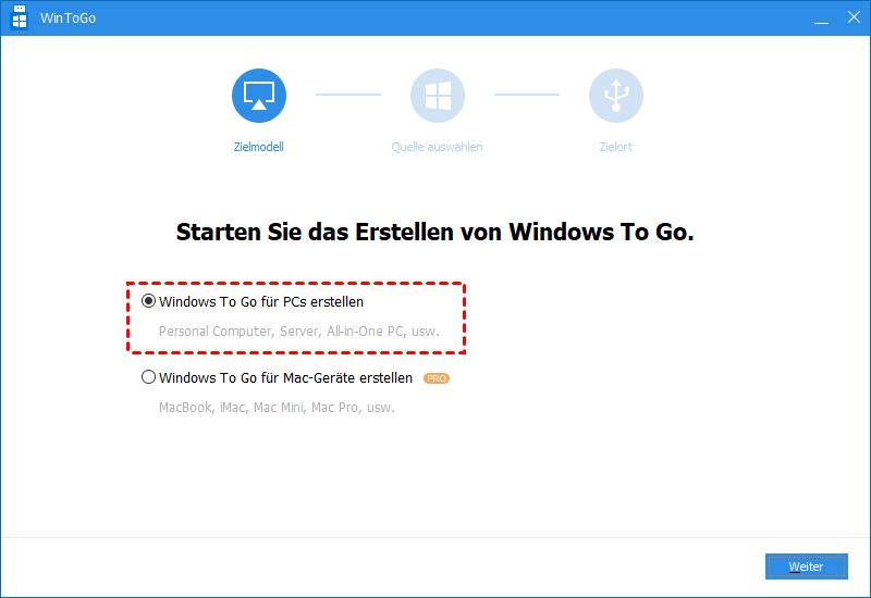 Windows To Go für PCs erstellen