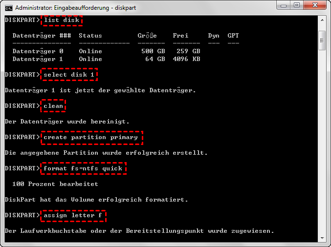 Festplatte formatieren Diskpart