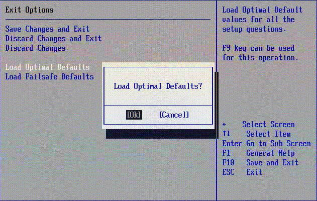 Bios Load Optimal Defaults