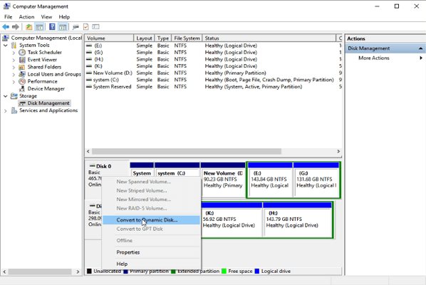 Convert Basic To Dynamic Disk Management