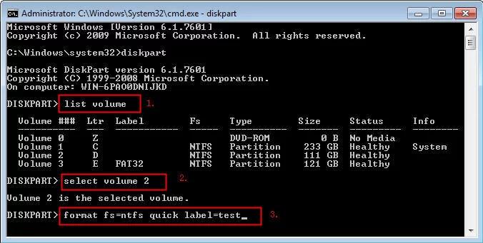 Diskpart Format Volume NTFS