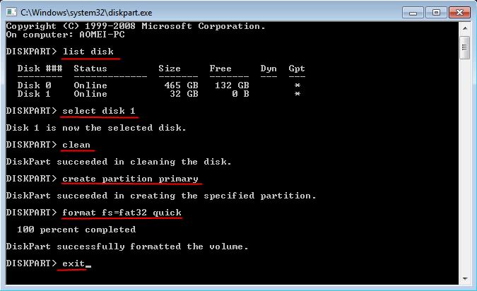 Format Partition Diskpart