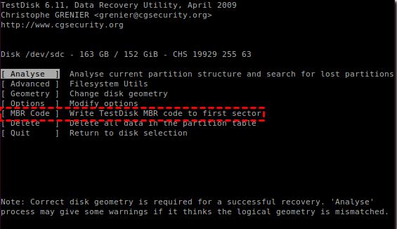 Testdisk MBRコード