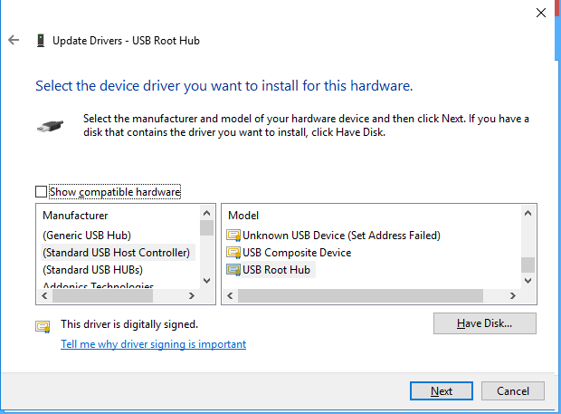 Uncheck Show Compatible Hardware