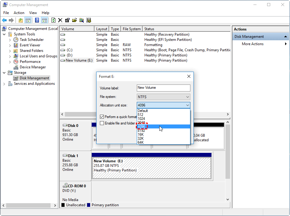 What S The Best Ssd Allocation Unit Size In Windows 10 8 7