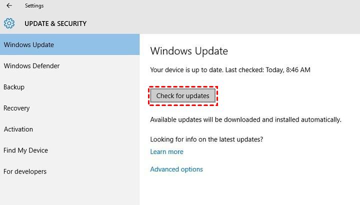 Check Update Window 10