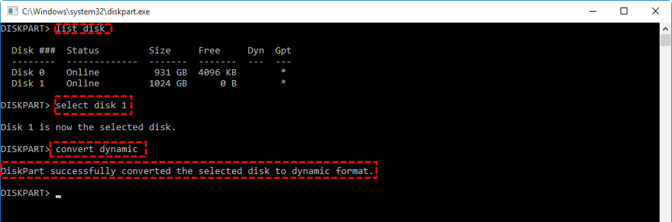 Convert To Dynamic Diskpart
