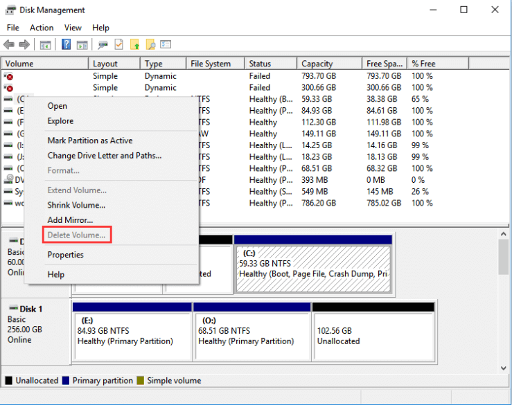 Delete Volume Greyed Out