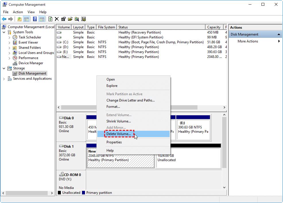 Delete Volume Windows 10