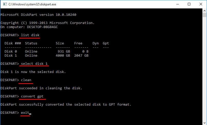 Diskpart Convert Gpt 4tb