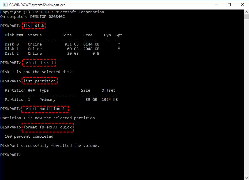 Diskpart Format External