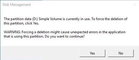 Force Delete Volume Warning