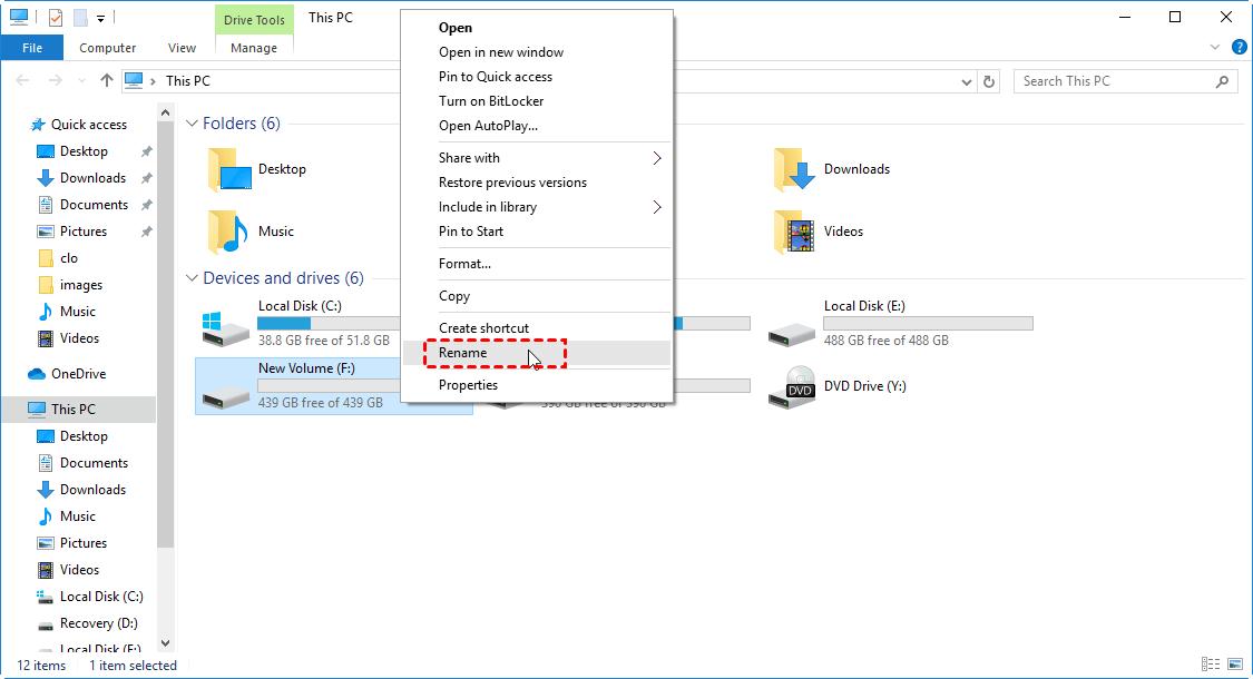 Rename External Hard Drive Explorer