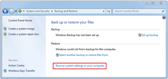 Win7 Recover System Setting