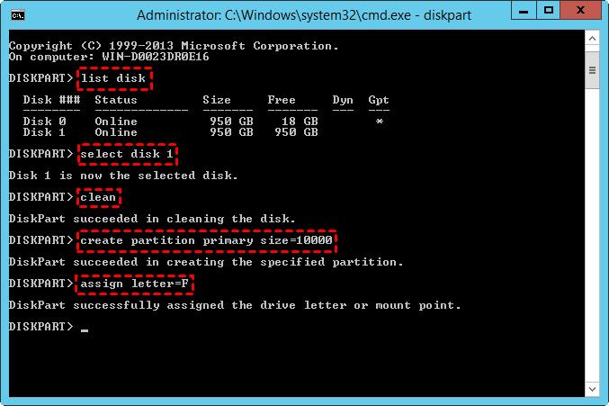 Cmd Create Partition Server