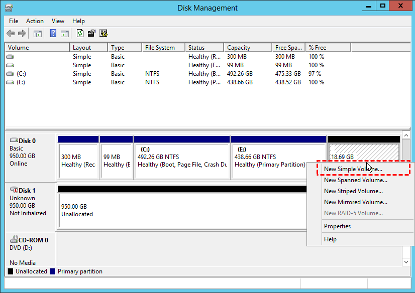 Create Partition Disk Management