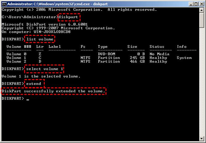 Extend C Partition Server 2008