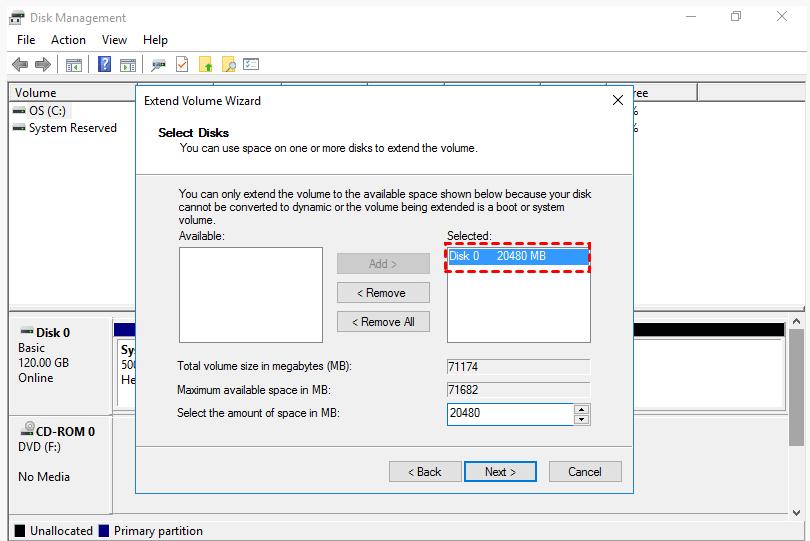 Extend Size Server 2016