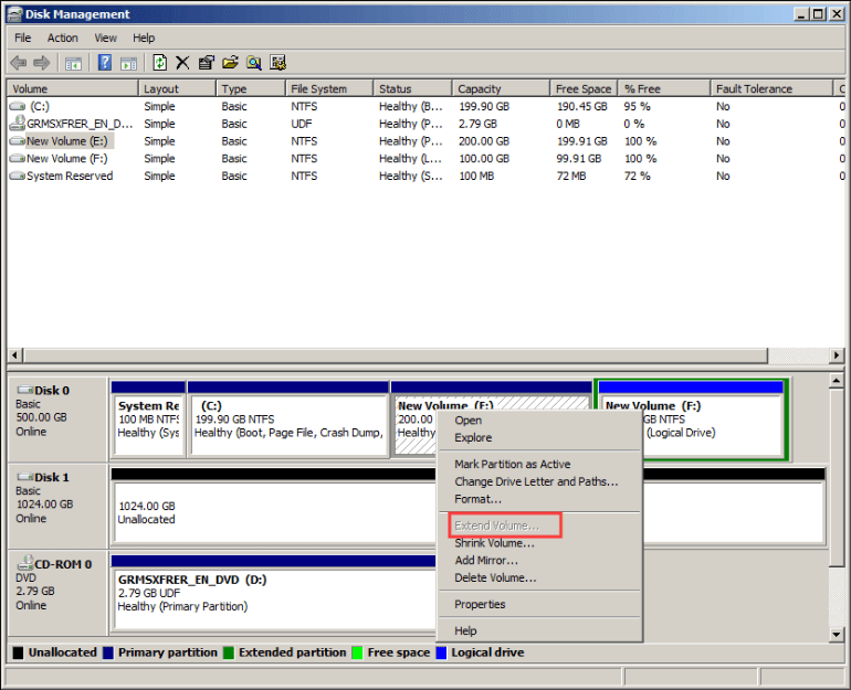 Extend Volume Greyed Out Windows Server 2008