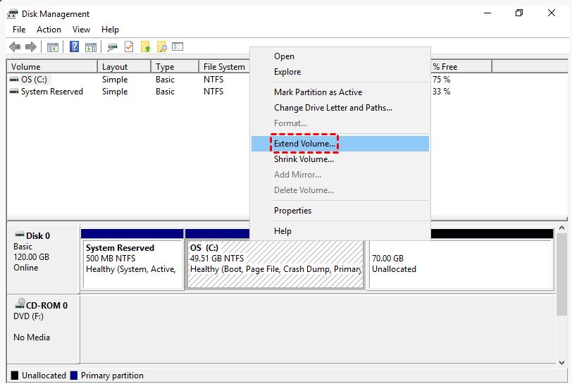 Extend Volume Server 2016