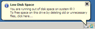 Low Disk Space Server 2008