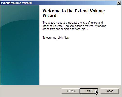 Extend Volume Wizard 2008