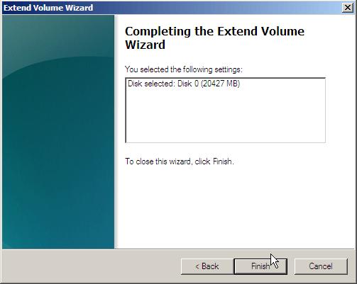 Finish Extend Volume