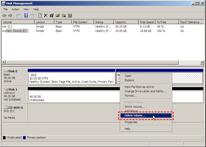 Server 2008 Delete Volume