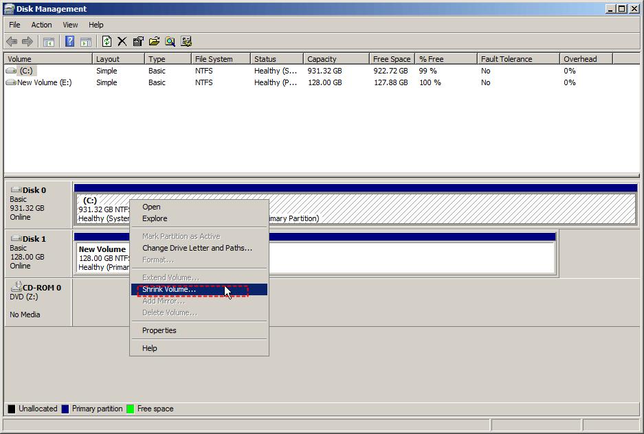 Shrink C Drive Windows Server 2008