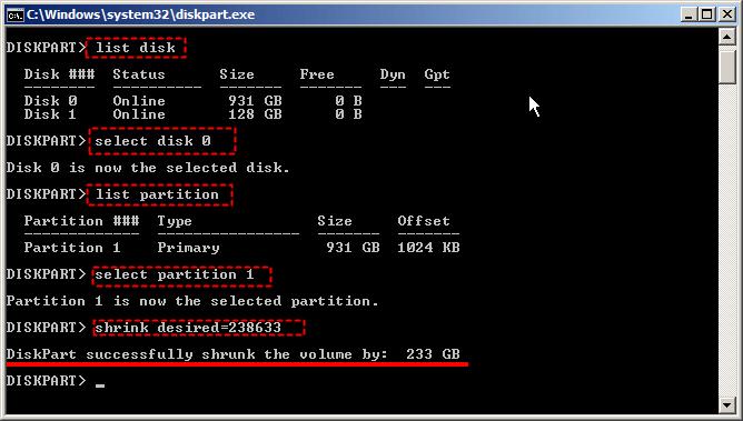 Shrink Diskpart Server 2008