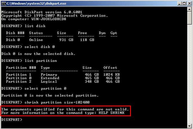 Shrink Extended Partition Diskpart Invalid