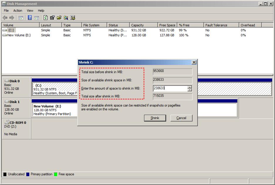 Size Shrink Server 2008