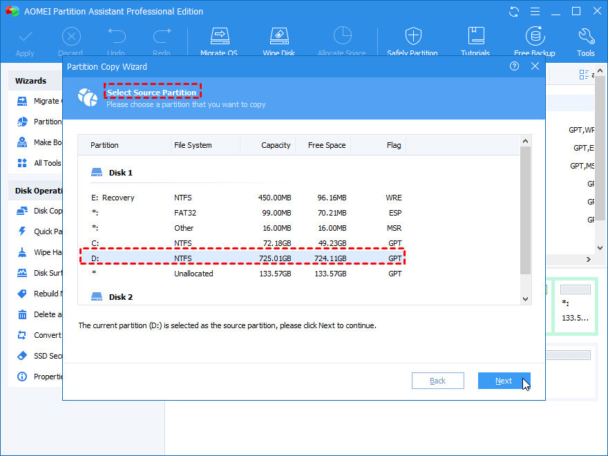 Select Source Partition