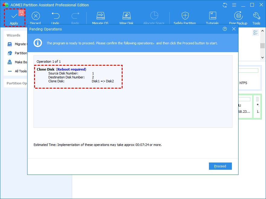 Apply Proceed Clone System Disk