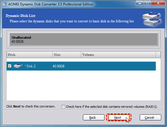 Select Dynamic Disk