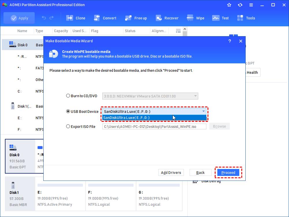 Choose USB Drive