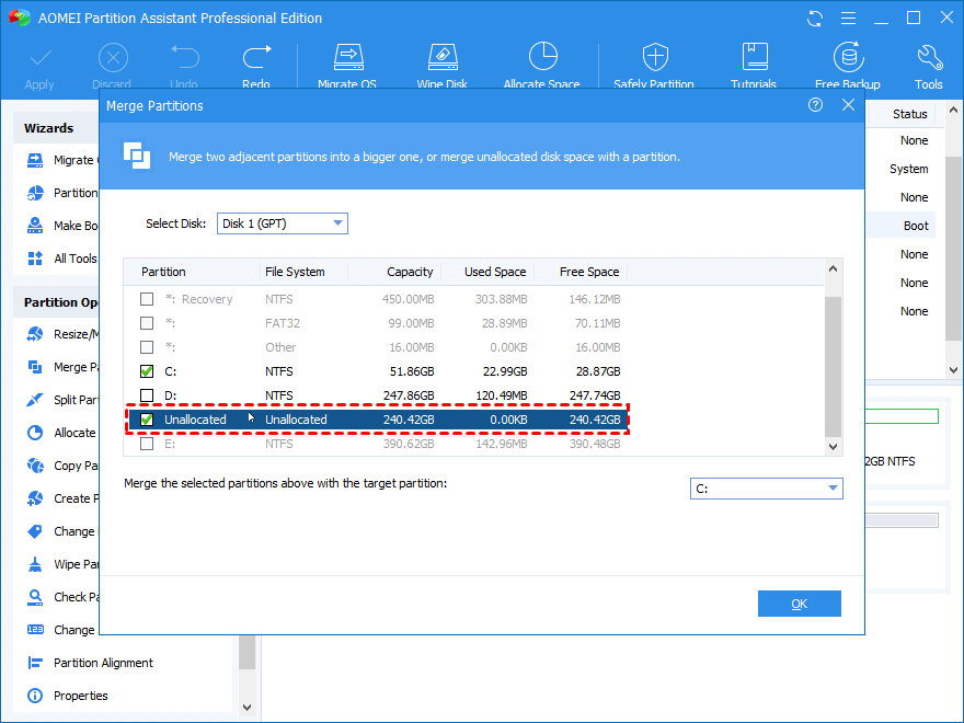 Add Unallocated Space to C Drive