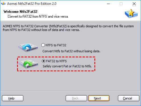 FAT32 to NTFS
