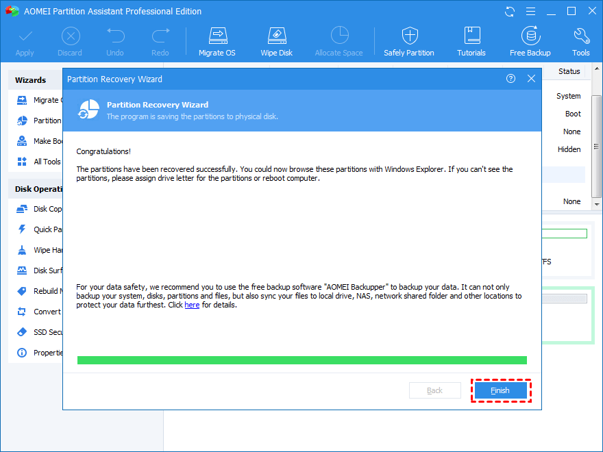 Partition Recovery Finish
