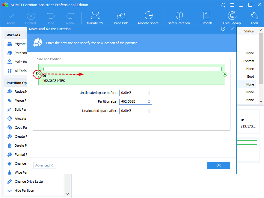How to Resize Partition with AOMEI Partition Assistant?