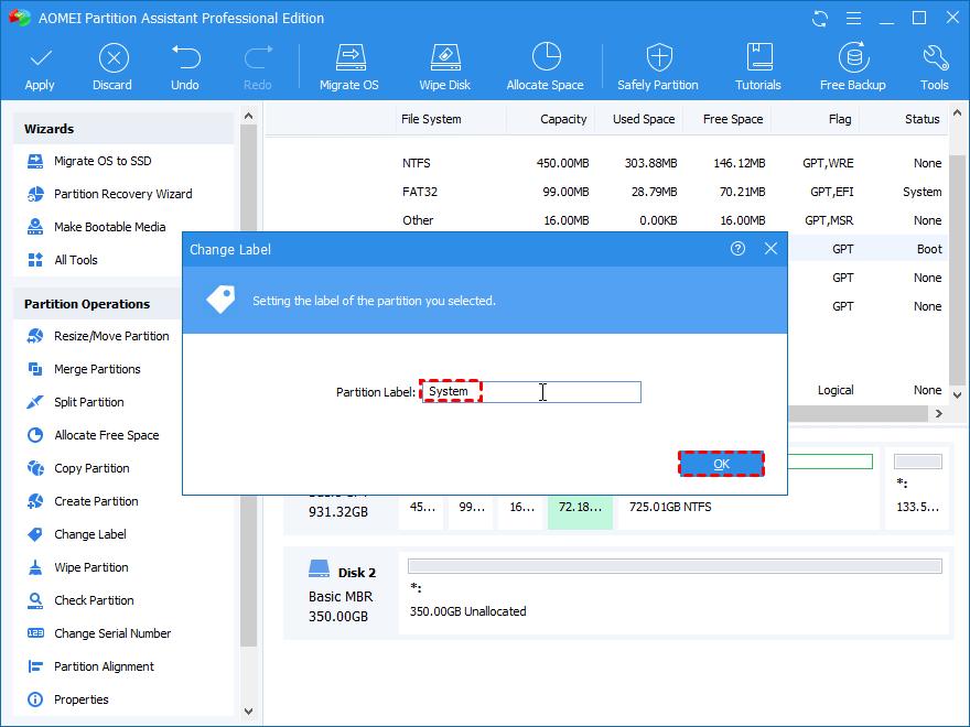 Edit Partition Label