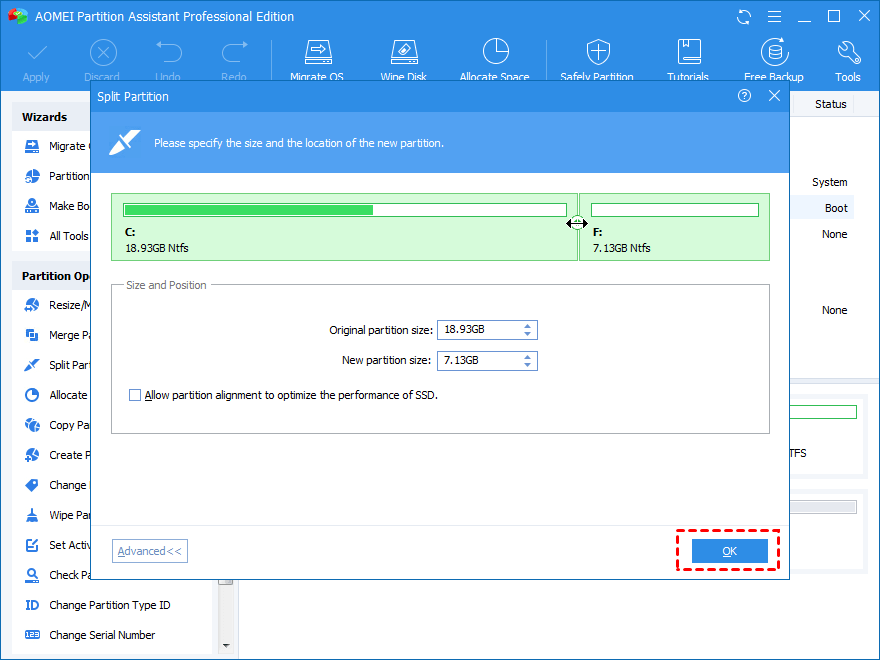 Resize New Partition