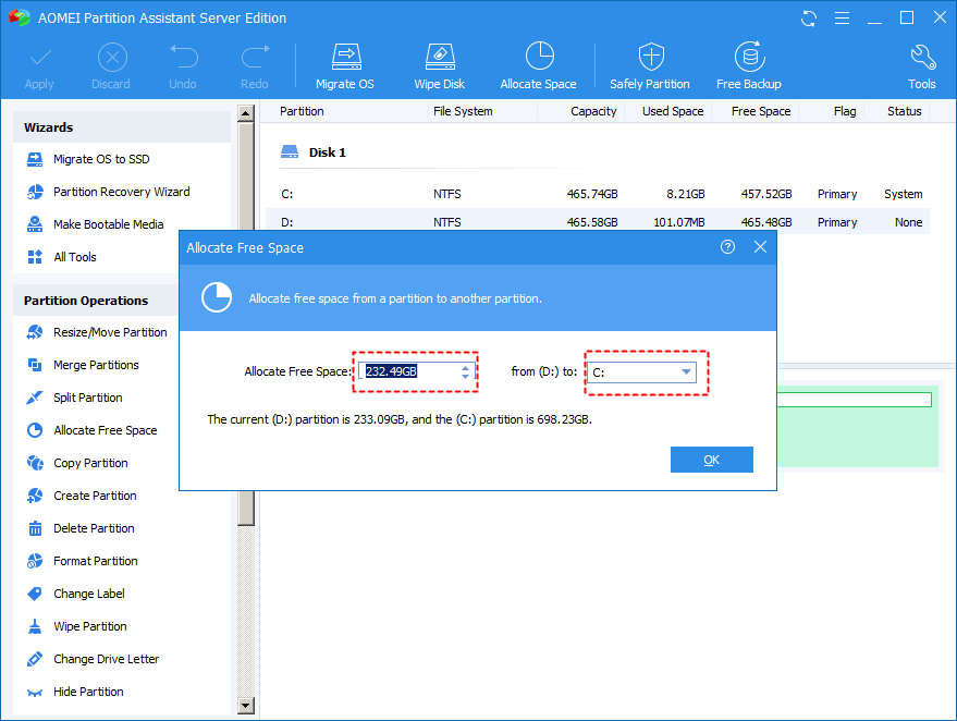Allocate Free D To C Mbr Disk