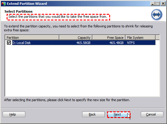Select D Partition