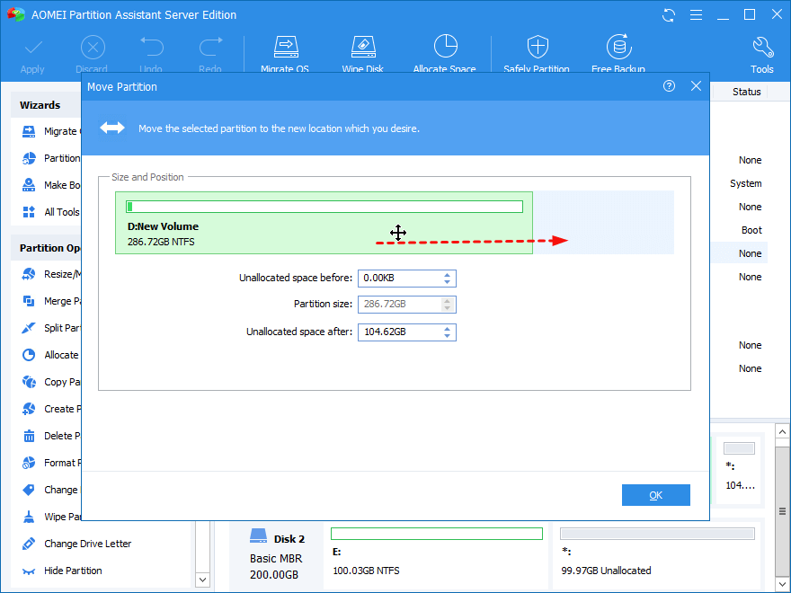 Move Partition To New Location