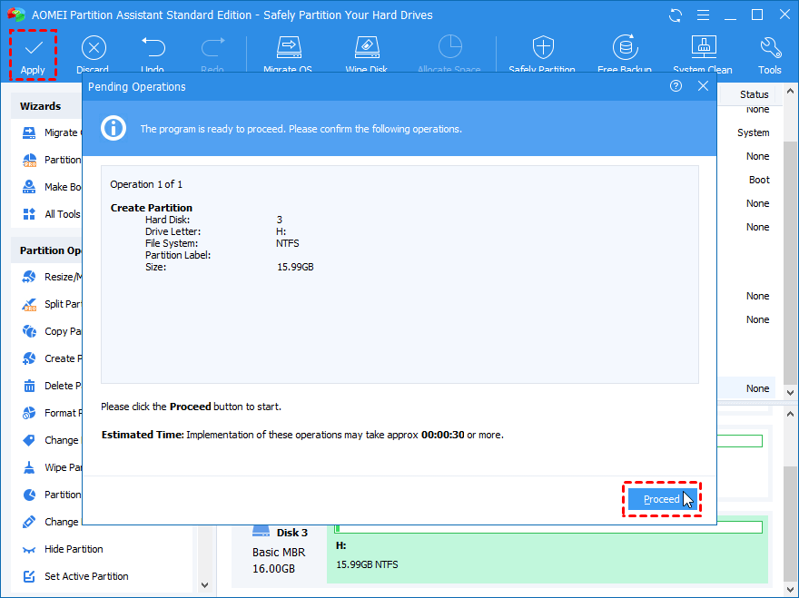 Proceed Create Partition 16GB