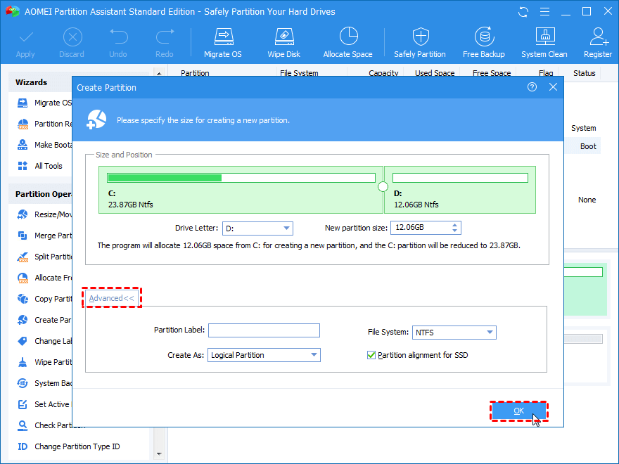 Resize New Partition Created From C Drive