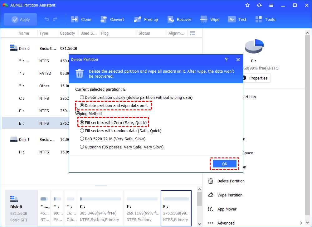 Delete Partition Wipe Data