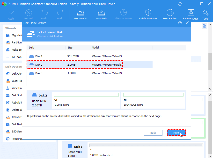 Select Source Disk