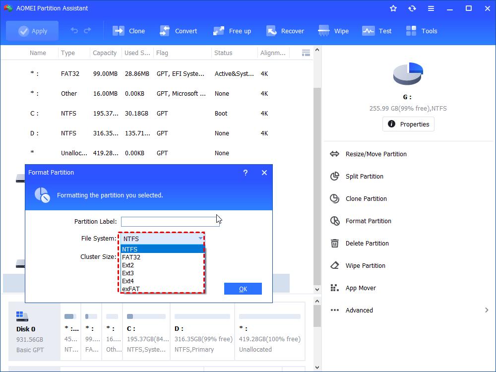 Choose Exfat File System